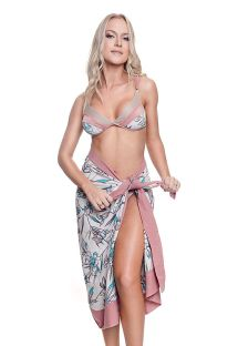 Luxurious floral pareo with old-pink borders - SARONG FLORAL
