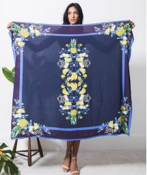Blue pareo with exotic fruits - CANGA GRANDE TROPICALIA