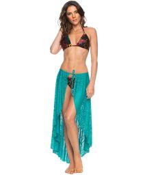 Tied pareo-like long lace beach skirt blue - PAREO SAIA BAHAMAS