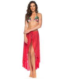 Tied pareo-like long lace beach skirt - dark pink - PAREO SAIA FLAMINGO