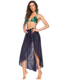 Tied navy blue pareo-like lace skirt - PAREO SAIA OCEANO