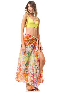 Multicoloured ethnic print pareo - BOHEME PAREO