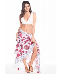 Two-tone floral print pareo with pompoms - PRAIA PARAISO