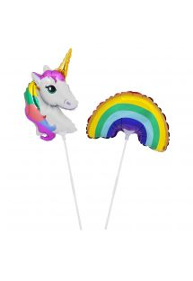 Lot de 2 ballons et tiges licorne/arc-en-ciel - BALLOONS WONDERLAND SMALL