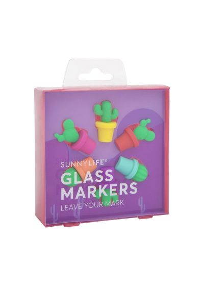 Set of 6 colourful cactus-shaped glass markers - CACTUS GLASS MARKERS