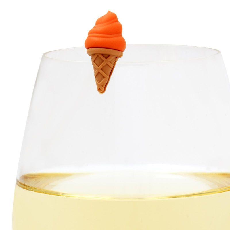 Set of 6 colourful ice cream cornet-shaped glass markers - ICE CREAM GLASS MARKERS