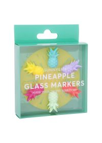 Set of 6 colourful pineapple-shaped glass markers - PINEAPPLE GLASS MARKERS
