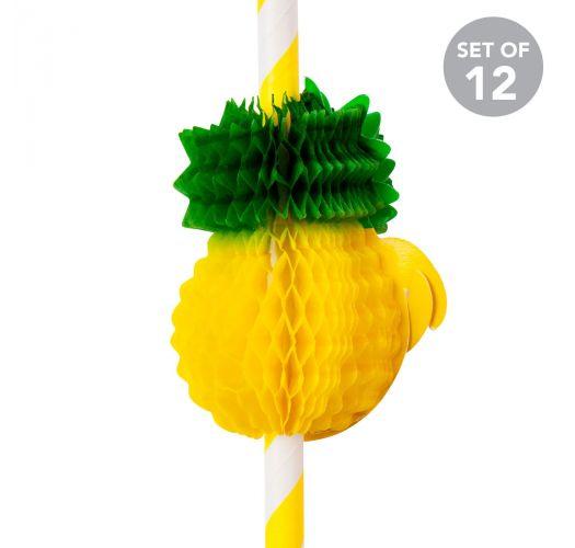 Set of 12 pineapple-shaped straws - PINEAPPLE STRAWS