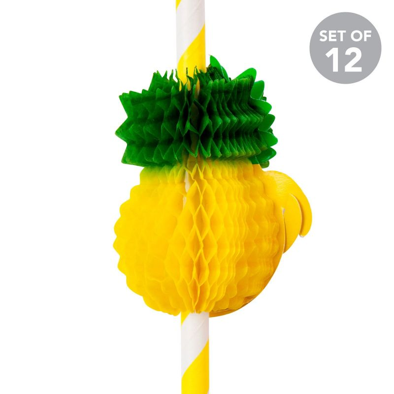 Set of 12 pineapple-shaped straws - PINEAPPLE STRAWS