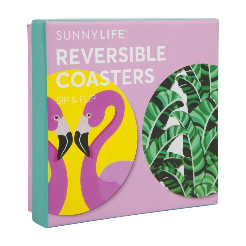 Pack of 16 double-sided tropical coasters - REVERSIBLE COASTERS TROPICAL