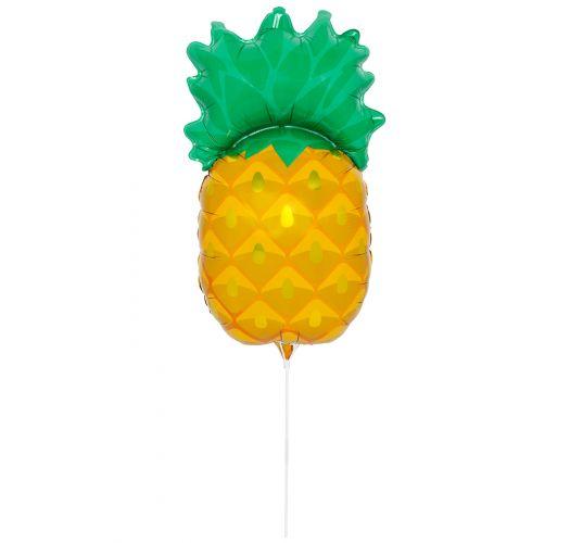 Pineapple-shaped aluminium foil balloon with stick - BALLOON PINEAPPLE
