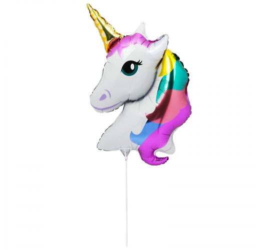 Aluminium balloon on a stick - unicorn  - BALLOON UNICORN