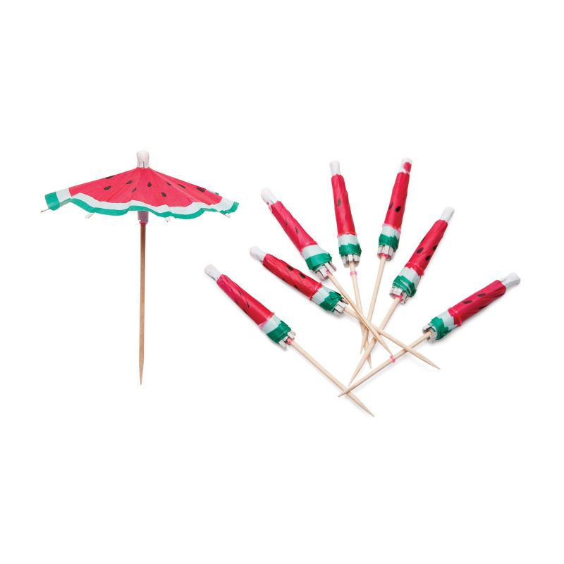 Pack of 24 watermelon-pattern cocktail umbrellas - WATERMELON UMBRELLAS