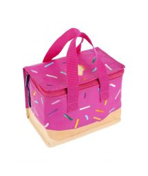 Soft children&#39s cool bag pink with doughnut print - KIDS LUNCH DONUT