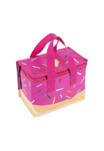 Soft children's cool bag pink with doughnut print - KIDS LUNCH DONUT
