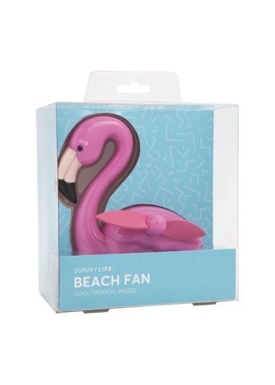 Bärbar mini fläkt - rosa flamingo - BEACH FAN FLAMINGO