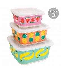 Set of 3 bamboo lunch boxes with fruit motifs - BOX FRUIT SALAD