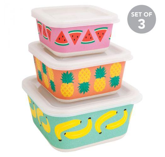 Picknick 3er Set Bambus Lunchbox Mit Obstmotiven Box Fruit Salad