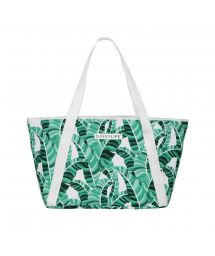 Insulated beach bag green tropical print - COOLER BAG BANANA PALM