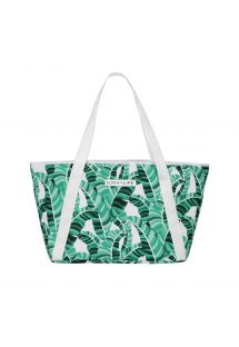 Sac de plage isotherme imprimé tropical vert - COOLER BAG BANANA PALM