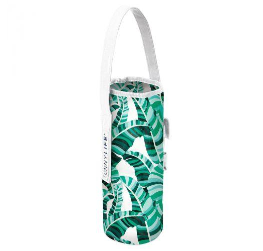 Green tropical bottle bag and corkscrew - COOLER BOTTLE TOTE BANANA PALM