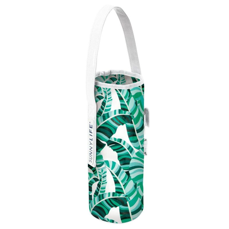 Green tropical bottle bag and corkscrew - COOLER BOTTLE TOTE BANANA PALM