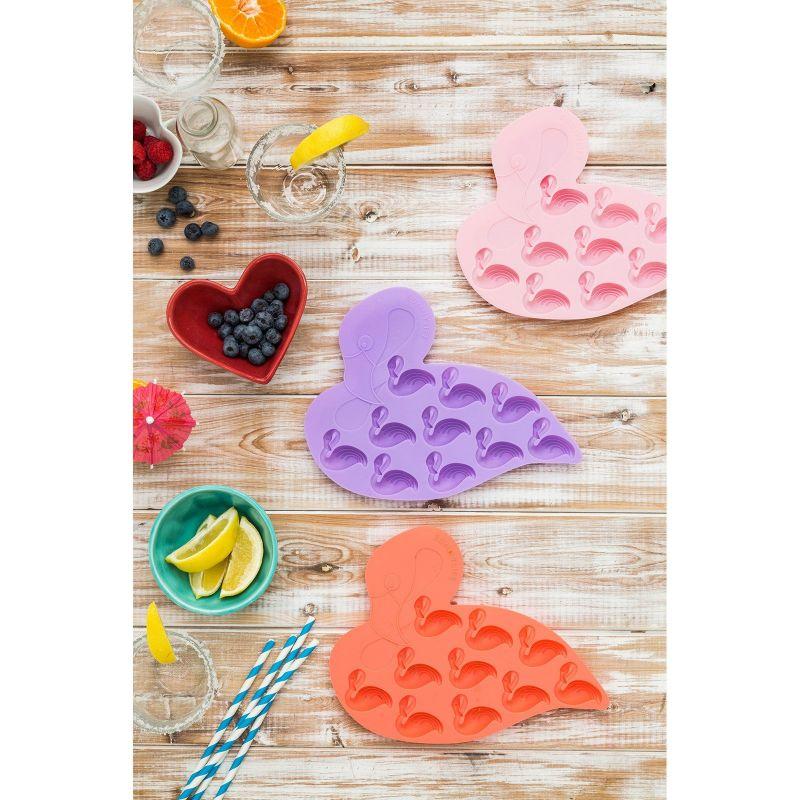 Set om 2 silikonformar för isbitar, rosa flamingor - FLAMINGO ICE TRAYS