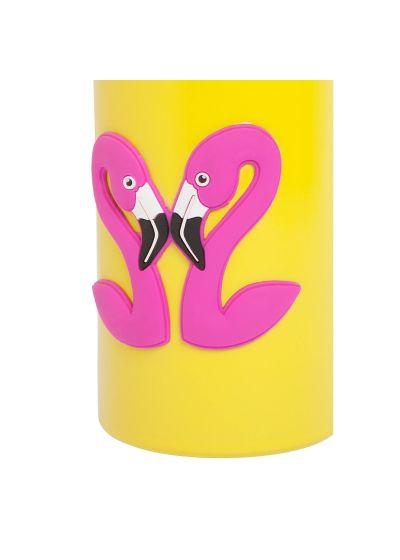 Gul isoterm flaska med rosa flamingo - FLASK FLAMINGO