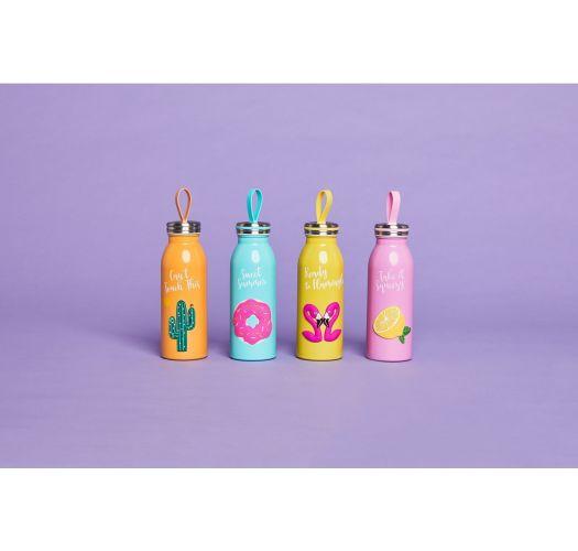 Yellow isotherm bottle with pink flamingo - FLASK FLAMINGO
