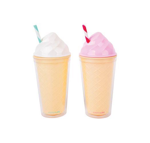 Cantimplora con forma de cucurucho de heladoblanco o rosa - FUN ICE CREAM