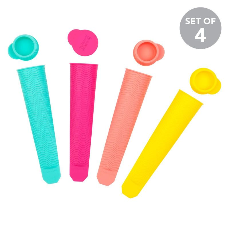Set of 4 colourful silicone ice pop moulds - ICY POLE MOULDS CARIBBEAN