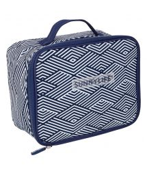 Soft cool bag with blue geometric print - LUNCH COOLER MONTAUK