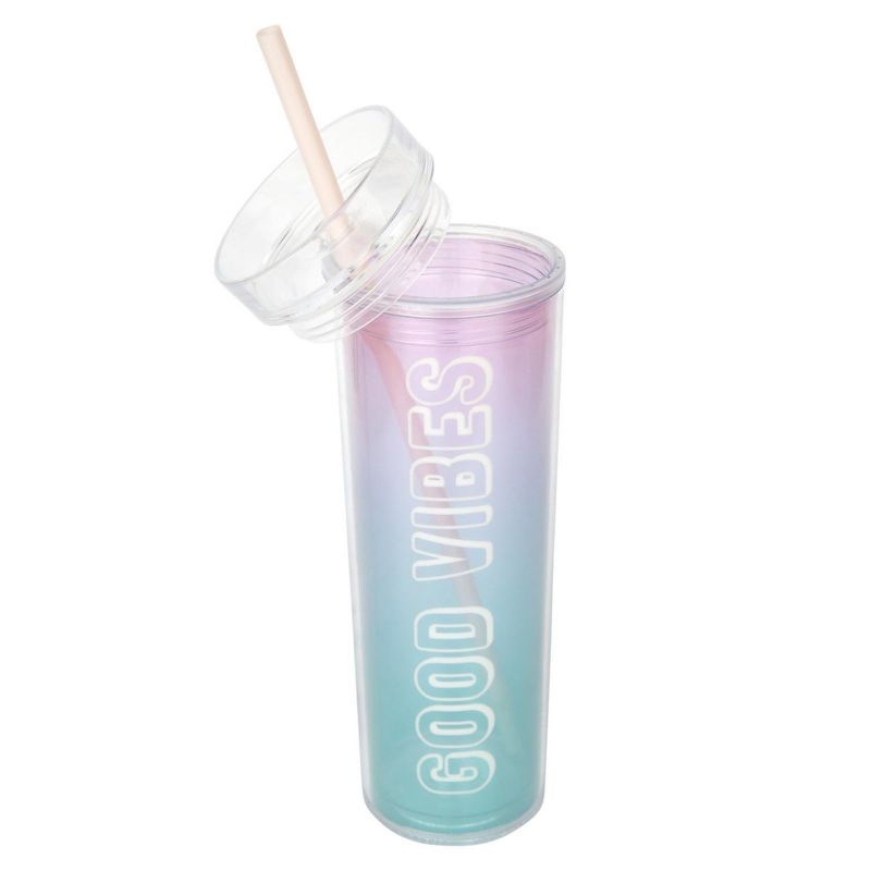 GOOD VIBES blue and pink gradient tumbler and straw - MALIBU TUMBLER GRADIENT