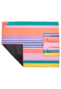 Açılınca piknik örtüsü olan çizgili katlanabilir çanta- PICNIC HAVANA