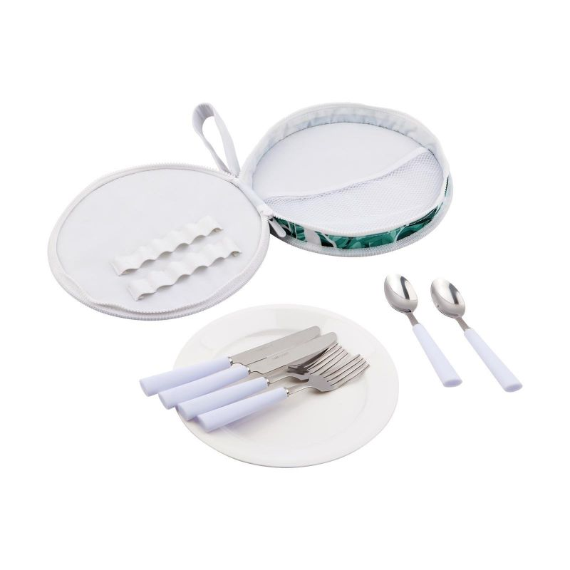Tropical set with plates and cutlery for 2 - PICNIC SET BANANA PALM
