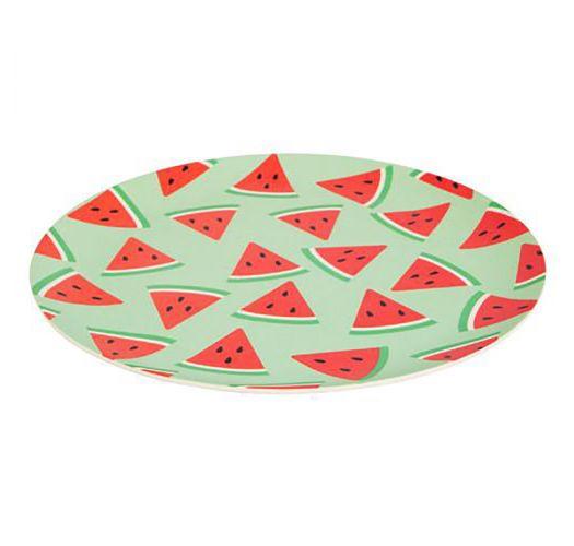 Prato C Desenhos De Melancia Em Fibra De Bambu Plate Watermelon