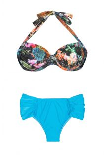 Bikini ekstra rozmiar z wzorzystym stanikiem typu balconette i jednokolorowymi, niebieskimi figami - PLUS CORAIS BLUE