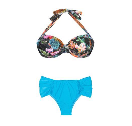 Bikini gornjeg šarenog dela sa balconette grudnjakom i plavih gaćica, veći brojevi - PLUS CORAIS BLUE