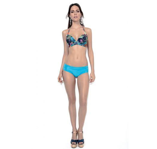 加大碼比基尼泳裝,印花半罩式平臺文胸配純藍色下裝 - PLUS CORAIS BLUE