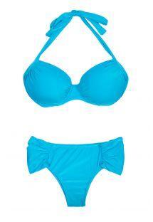 Himmelblå pluss størrelse bikini med balkonettetopp - PLUS DRAPEADO BLUE