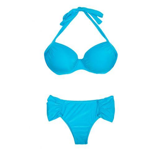Bikini debess zilā krāsā arbalconetteveida augšdaļu - PLUS DRAPEADO BLUE