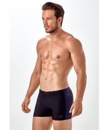 Two-tone black/dark blue boxer swimming trunks - SUNGA BOXER RECORTE
