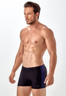Two-tone black/dark blue boxer swimming trunks - SUNGA BOXER RECORTE