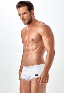 White sunga swimming trunks, textured fabric - SUNGA LIGHT PIQUET