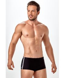 Mens black Brazilian sunga, side stripes - SUNGA SLIM RECORTE