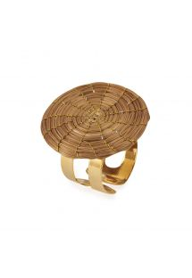 Handmade round shape adjustable ring made of golden grass - JOSAO