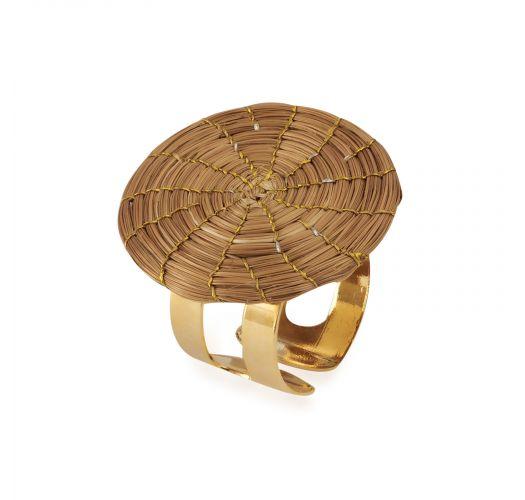 Handmade round shape adjustable ring made of golden grass - JOSAO