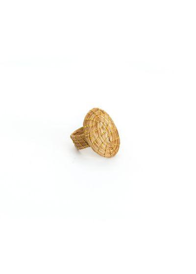 Oval shape handmade gold ring - OVAL