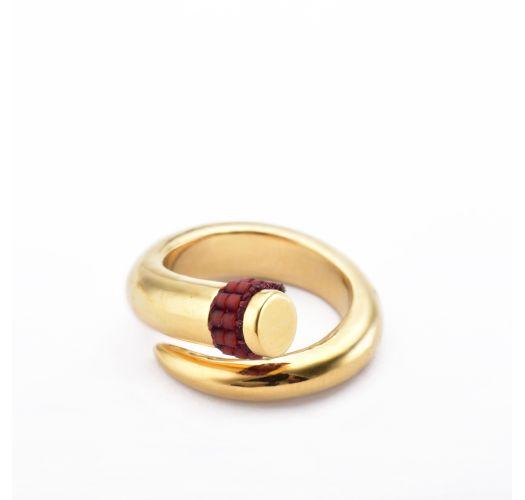 Spiral golden ring with dark pink detail - Spiral Ring GP S 6062