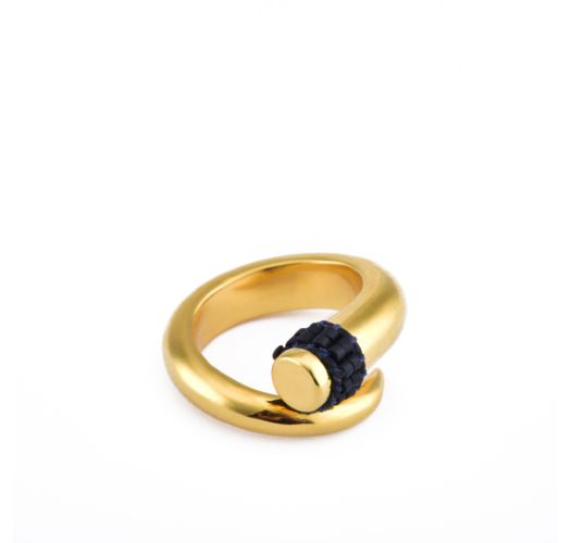 Spiral golden ring with navy blue detail - Spiral Ring GP S 6063